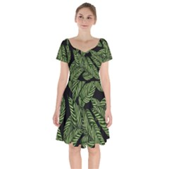 Leaves Black Background Pattern Short Sleeve Bardot Dress by Jojostore