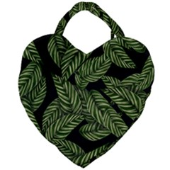 Leaves Black Background Pattern Giant Heart Shaped Tote by Jojostore