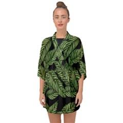 Leaves Black Background Pattern Half Sleeve Chiffon Kimono