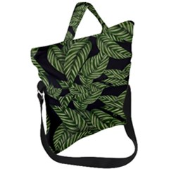 Leaves Black Background Pattern Fold Over Handle Tote Bag by Jojostore