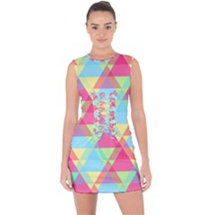 Pattern Bright Triangle Pink Blue Lace Up Front Bodycon Dress