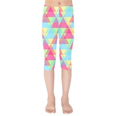 Pattern Bright Triangle Pink Blue Kids  Capri Leggings