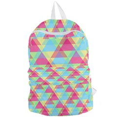 Pattern Bright Triangle Pink Blue Foldable Lightweight Backpack