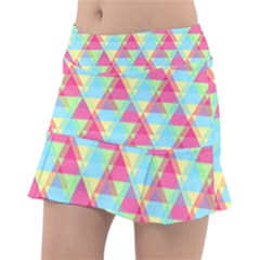 Pattern Bright Triangle Pink Blue Tennis Skirt