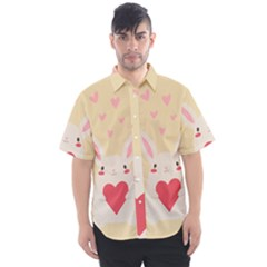 Rabbit Heart Illustration Men s Short Sleeve Shirt