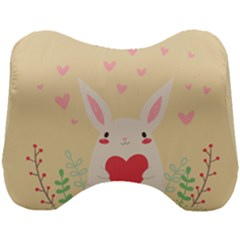Rabbit Heart Illustration Head Support Cushion