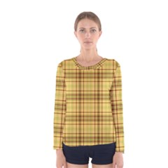 Plaid Seamless Gold Butterscotch Women s Long Sleeve Tee by Jojostore