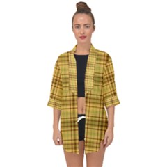 Plaid Seamless Gold Butterscotch Open Front Chiffon Kimono