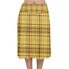 Plaid Seamless Gold Butterscotch Velvet Flared Midi Skirt