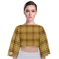 Plaid Seamless Gold Butterscotch Tie Back Butterfly Sleeve Chiffon Top