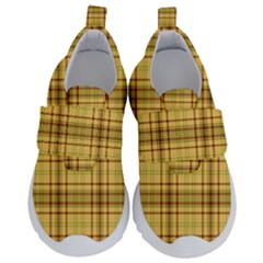 Plaid Seamless Gold Butterscotch Kids  Velcro No Lace Shoes by Jojostore