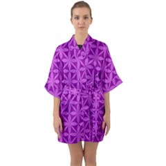 Purple Magenta Wallpaper Seamless Pattern Quarter Sleeve Kimono Robe by Jojostore