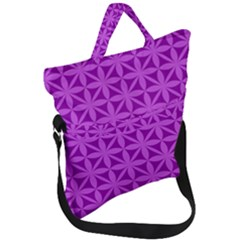 Purple Magenta Wallpaper Seamless Pattern Fold Over Handle Tote Bag by Jojostore