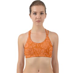 Orange Ellipse Wallpaper Pattern Back Web Sports Bra by Jojostore