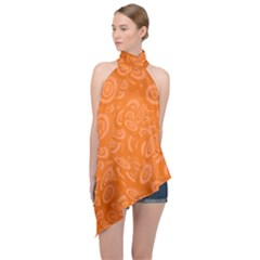 Orange Ellipse Wallpaper Pattern Halter Asymmetric Satin Top by Jojostore