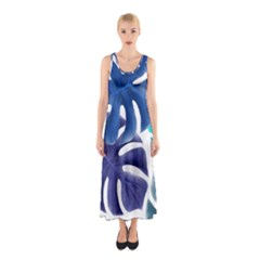 Leaves Tropical Blue Green Nature Sleeveless Maxi Dress by Alisyart