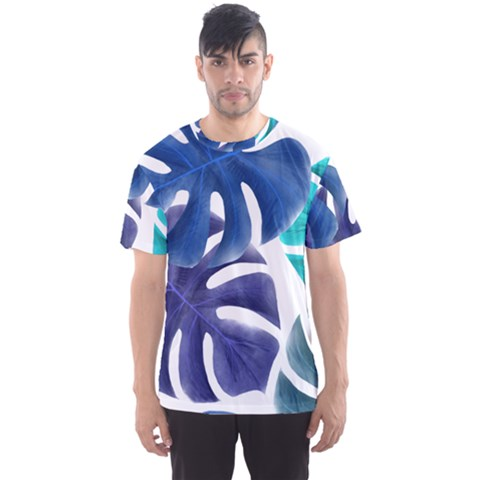 Leaves Tropical Blue Green Nature Men s Sports Mesh Tee by Alisyart
