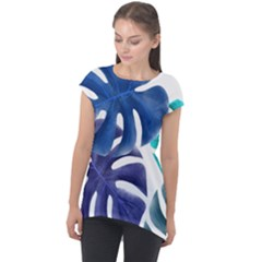 Leaves Tropical Blue Green Nature Cap Sleeve High Low Top by Alisyart