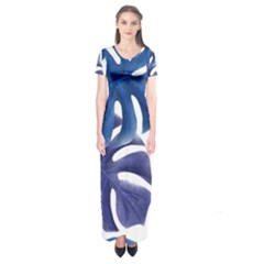 Leaves Tropical Blue Green Nature Short Sleeve Maxi Dress