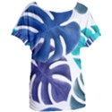 Leaves Tropical Blue Green Nature Women s Oversized Tee View1