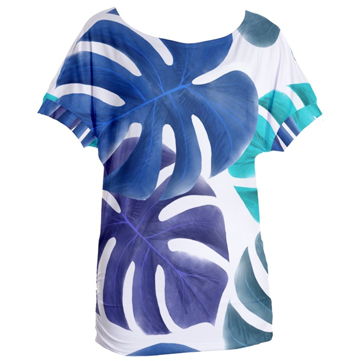 Leaves Tropical Blue Green Nature Women s Oversized Tee