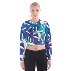 Leaves Tropical Blue Green Nature Cropped Sweatshirt by Alisyart