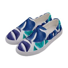 Leaves Tropical Blue Green Nature Women s Canvas Slip Ons by Alisyart