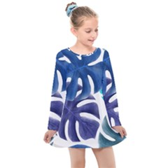 Leaves Tropical Blue Green Nature Kids  Long Sleeve Dress by Alisyart