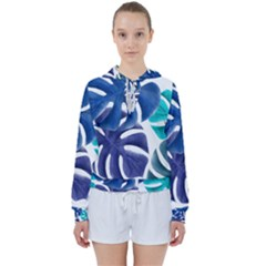 Leaves Tropical Blue Green Nature Women s Tie Up Sweat