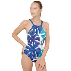 Leaves Tropical Blue Green Nature High Neck One Piece Swimsuit