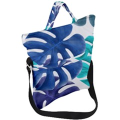 Leaves Tropical Blue Green Nature Fold Over Handle Tote Bag by Alisyart