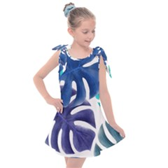Leaves Tropical Blue Green Nature Kids  Tie Up Tunic Dress by Alisyart