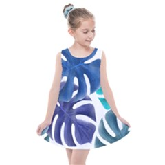 Leaves Tropical Blue Green Nature Kids  Summer Dress