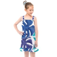 Leaves Tropical Blue Green Nature Kids  Overall Dress by Alisyart