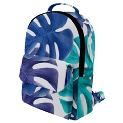 Leaves Tropical Blue Green Nature Flap Pocket Backpack (small) by Alisyart