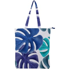Leaves Tropical Blue Green Nature Double Zip Up Tote Bag