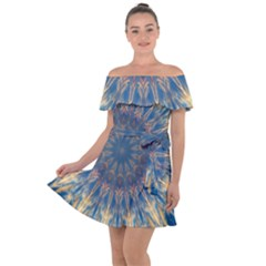 Kaleidoscope Mandala Off Shoulder Velour Dress by Alisyart