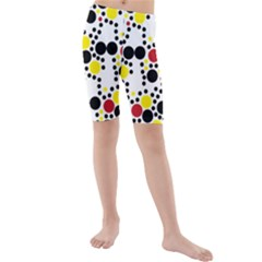 Pattern Circle Texture Kids  Mid Length Swim Shorts