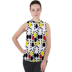 Pattern Circle Texture Mock Neck Chiffon Sleeveless Top by Alisyart