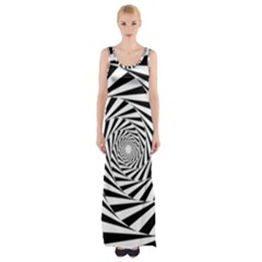 Pattern Texture Spiral Maxi Thigh Split Dress by Alisyart
