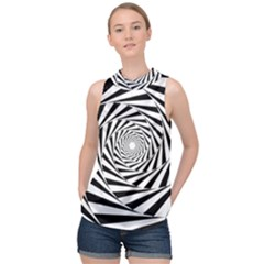 Pattern Texture Spiral High Neck Satin Top by Alisyart