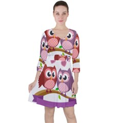 Owl Cartoon Bird Ruffle Dress by Alisyart