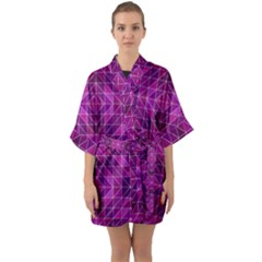 Purple Triangle Pattern Quarter Sleeve Kimono Robe by Alisyart