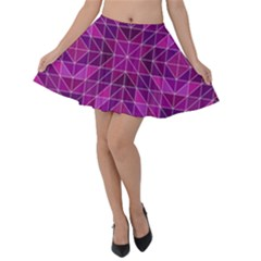 Purple Triangle Pattern Velvet Skater Skirt