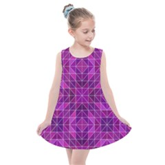 Purple Triangle Pattern Kids  Summer Dress by Alisyart