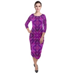 Purple Triangle Pattern Quarter Sleeve Midi Velour Bodycon Dress by Alisyart