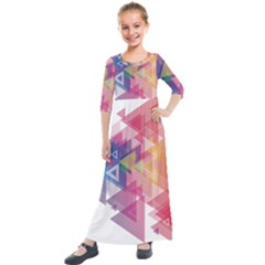 Science And Technology Triangle Kids  Quarter Sleeve Maxi Dress by Alisyart