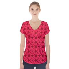 Red Magenta Wallpaper Seamless Pattern Short Sleeve Front Detail Top by Alisyart