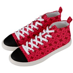Red Magenta Wallpaper Seamless Pattern Men s Mid-top Canvas Sneakers by Alisyart