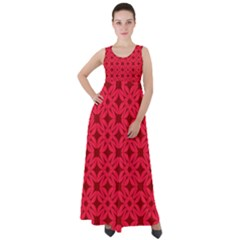 Red Magenta Wallpaper Seamless Pattern Empire Waist Velour Maxi Dress